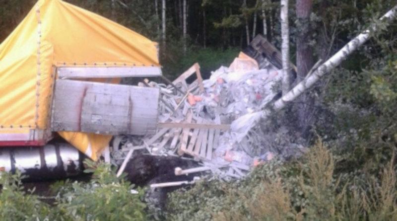 6 августа вРечицком районе автопоезд съехал кювет